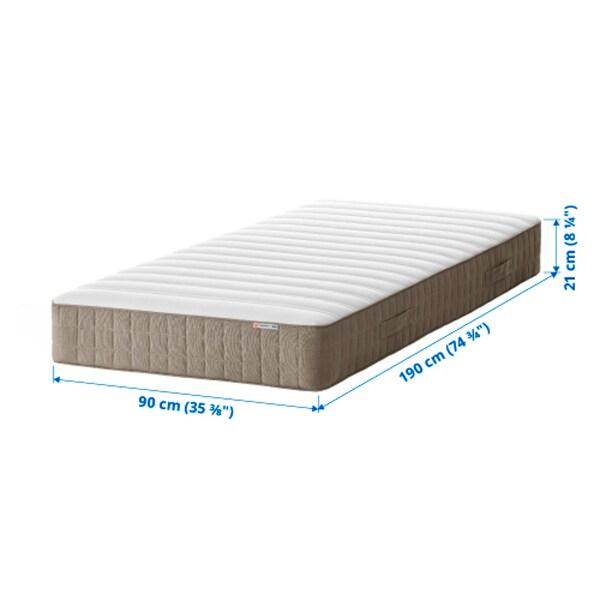 HAMARVIK Sprung mattress, firm/dark beige, 90x190 cm