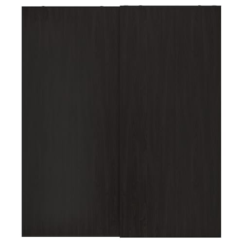 HASVIK pair of sliding doors black-brown stained ash effect 200 cm 236 cm