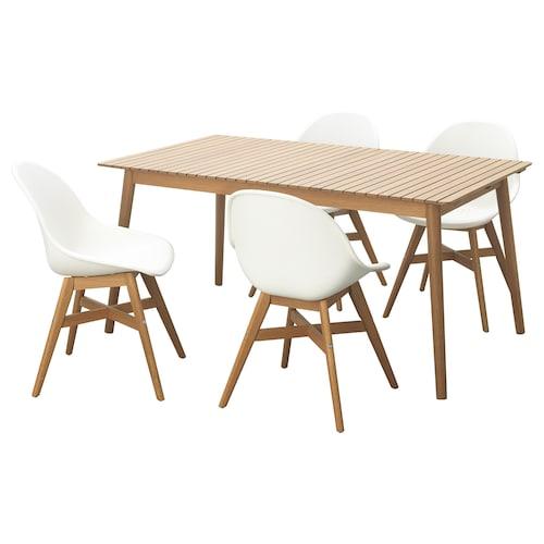 HATTHOLMEN / FANBYN table+4 chairs, outdoor eucalyptus light oak/white