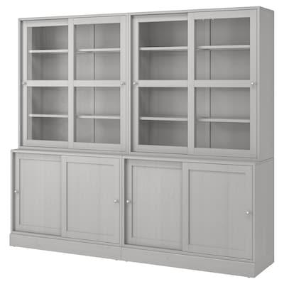 HAVSTA Storage comb w sliding glass doors, grey, 242x47x212 cm