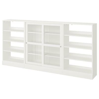 HAVSTA Storage comb w sliding glass doors, white, 283x37x134 cm