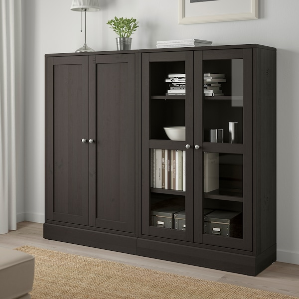 HAVSTA Storage combination w glass-doors, dark brown, 162x37x134 cm
