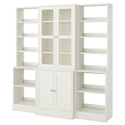 HAVSTA Storage combination w glass doors, white, 203x47x212 cm