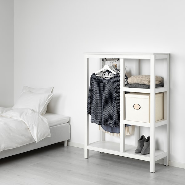 HEMNES Open wardrobe, white stained, 99x37x130 cm