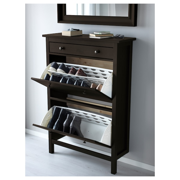 HEMNES Shoe cabinet with 2 compartments, black-brown, 89x127 cm