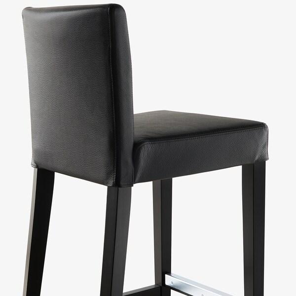 HENRIKSDAL bar stool with backrest brown-black/Glose black 110 kg 40 cm 51 cm 93 cm 40 cm 38 cm 63 cm