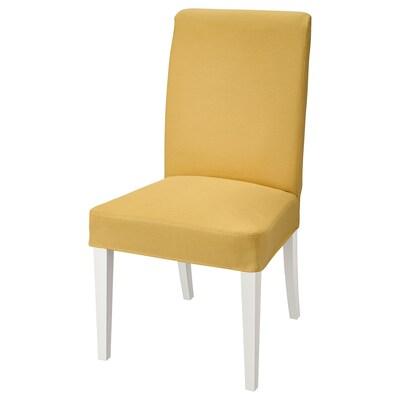 HENRIKSDAL Chair, white/Orrsta golden-yellow