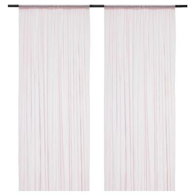 HILDRUN Sheer curtains, 1 pair, pink/dotted, 145x300 cm