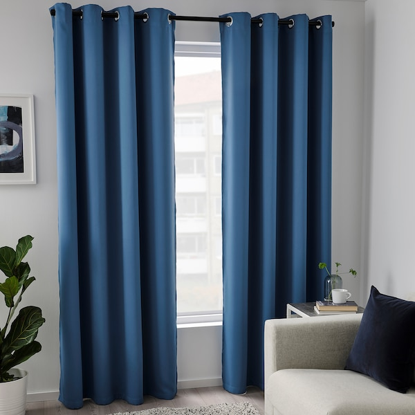 HILLEBORG Room darkening curtains, 1 pair, blue, 145x300 cm