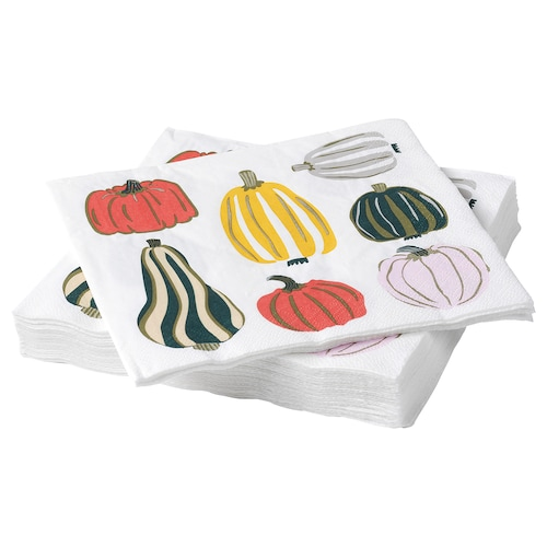 HÖSTPROMENAD paper napkin pumpkin pattern white 33 cm 33 cm 30 pack