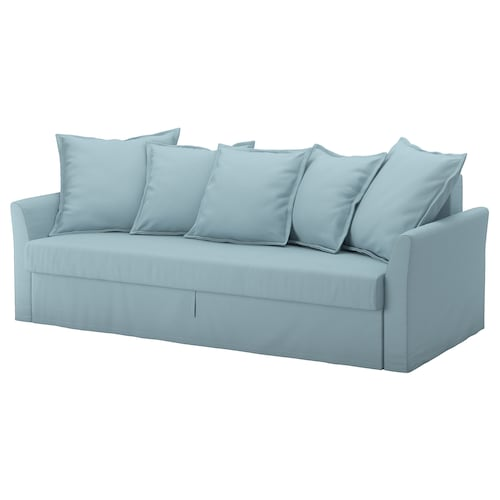 HOLMSUND three-seat sofa-bed Orrsta light blue 96 cm 79 cm 230 cm 99 cm 60 cm 44 cm 140 cm 200 cm