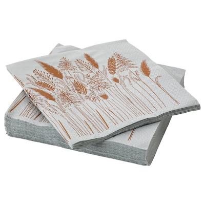 HÖSTKVÄLL Paper napkin, grey, 33x33 cm