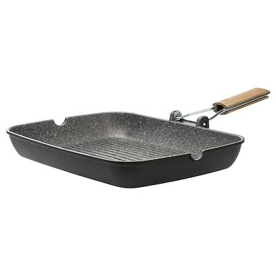 HUSKNUT Grill pan, black, 36x26 cm