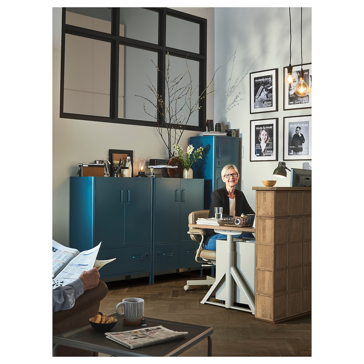 Idasen Cabinet With Doors And Drawers Blue Ikea