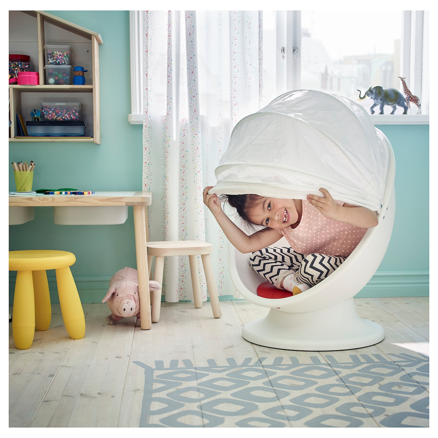 IKEA PS LÖMSK Swivel armchair whitered
