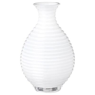 INBJUDEN Vase, glass white, 13 cm