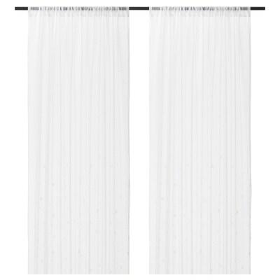 IRMALI Sheer curtains, 1 pair, white dots, 145x300 cm