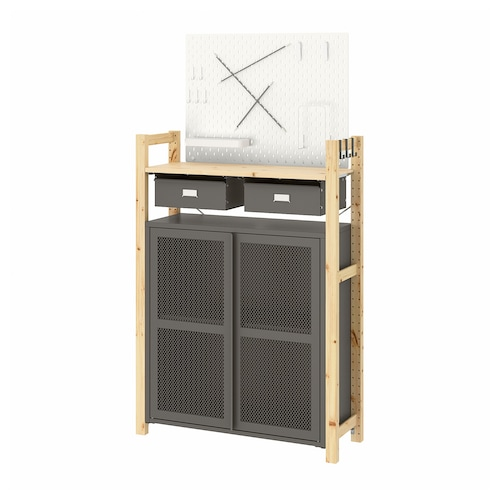 IVAR 1 section/shelves/cabinet pine/grey mesh 89 cm 30 cm 124 cm