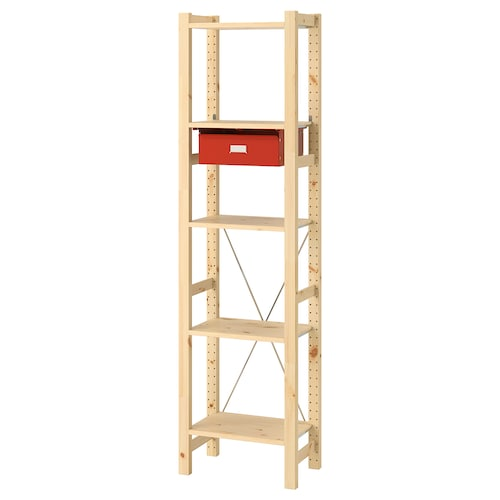 IVAR 1 section/shelves/drawers pine/red 48 cm 30 cm 179 cm 36 cm 30 cm