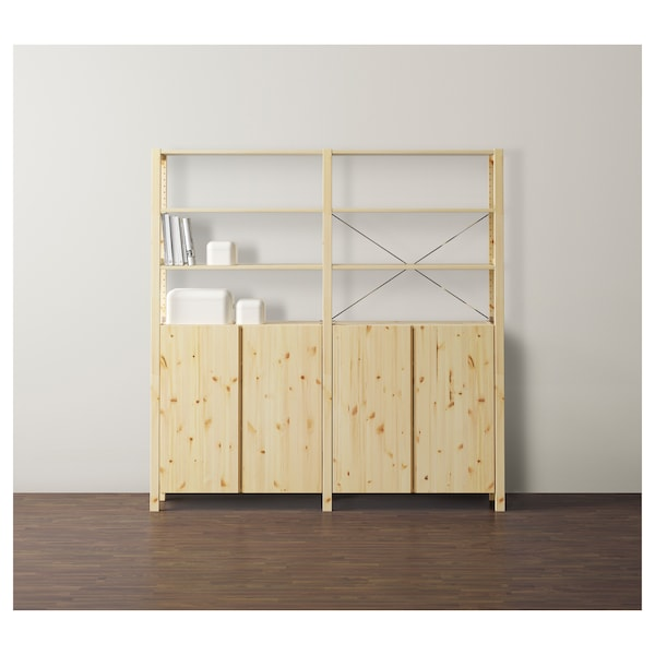 IVAR 2 sections/shelves/cabinet, pine, 174x30x179 cm