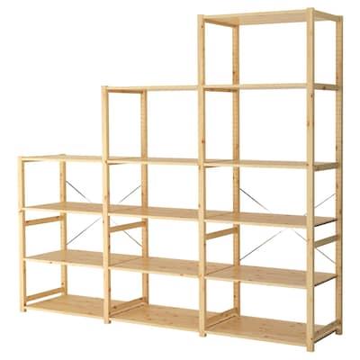 IVAR 3 sections/shelves, pine, 259x50x226 cm