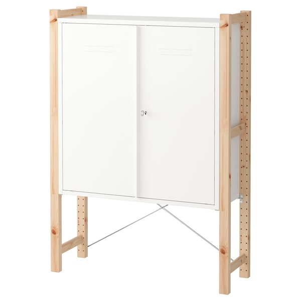 IVAR Cabinet with doors, pine/white, 89x30x124 cm