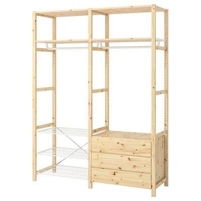 IVAR Shelving unit w shelves/rails/chest, 174x50x226 cm
