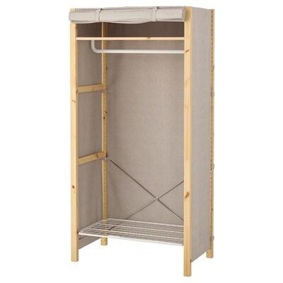 IVAR Shelving unit w shelves/rails/cover, 89x50x179 cm