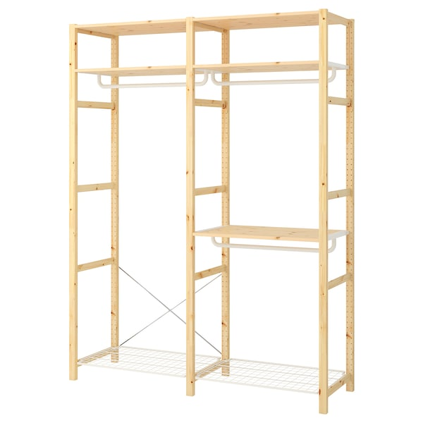IVAR Shelving unit with clothes rail, 174x50x226 cm