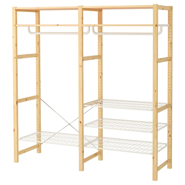 IVAR Shelving unit with shelves/rails, pine, 174x50x179 cm