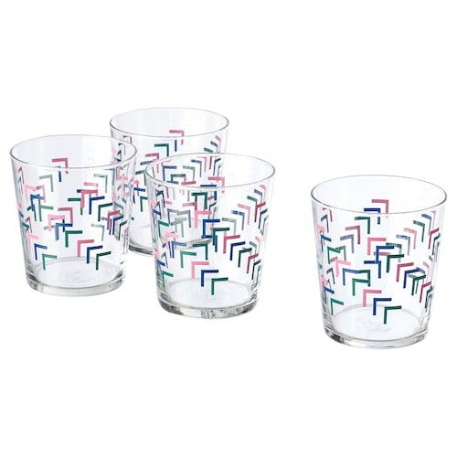 JÄMNGOD glass mixed colours 9 cm 30 cl 4 pack