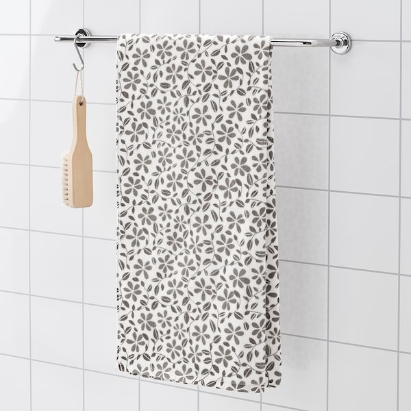 JUVELBLOMMA bath towel white/grey 400 g/m² 140 cm 70 cm 0.98 m²
