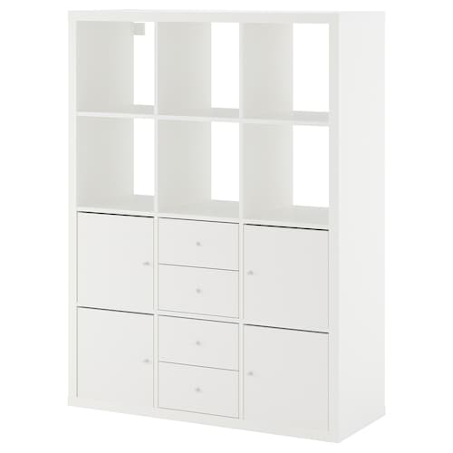 KALLAX shelving unit with 6 inserts white 112 cm 39 cm 147 cm 13 kg