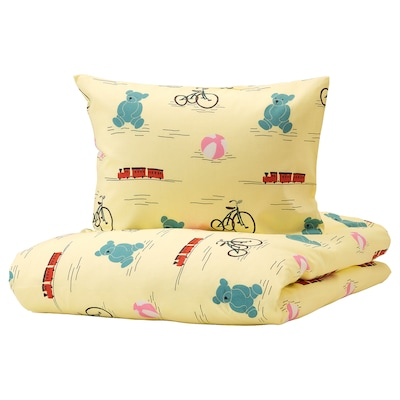KÄPPHÄST Quilt cover and pillowcase, toys yellow, 150x200/50x60 cm