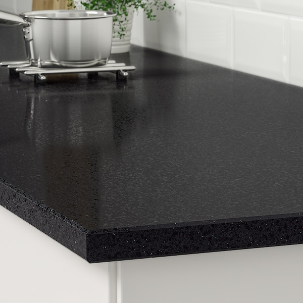 KASKER Custom made worktop, black with mineral/glitter effect/quartz, 1 m²x3.0 cm