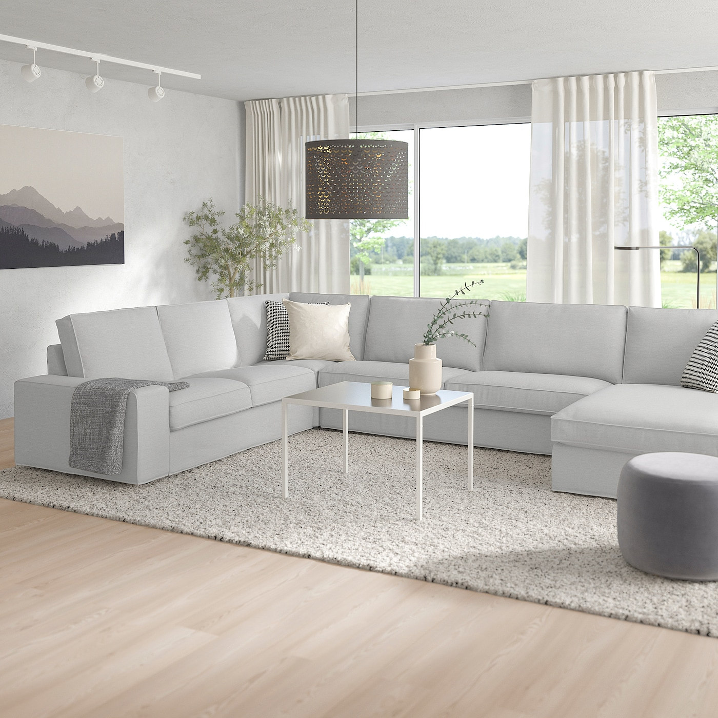 KIVIK Corner sofa, 6 seat with chaise longueOrrsta light grey