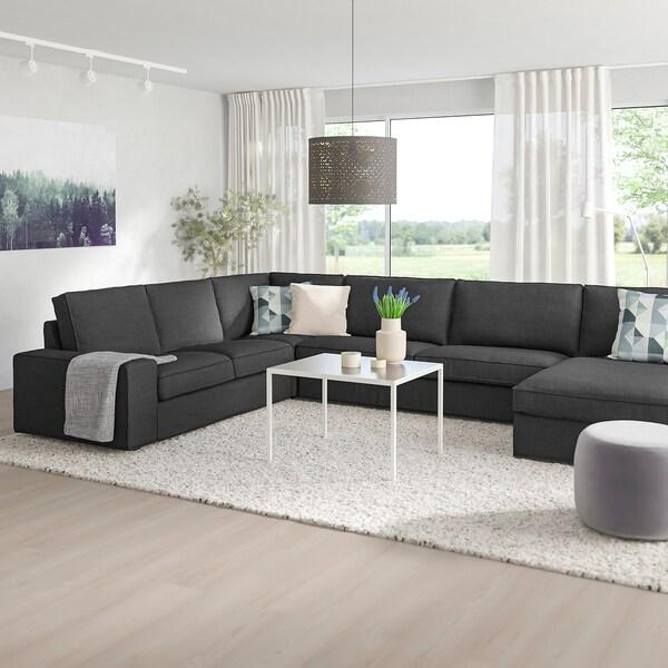 KIVIK corner sofa, 6-seat with chaise longue/Hillared anthracite 163 cm 83 cm 124 cm 387 cm 257 cm 24 cm 60 cm 45 cm