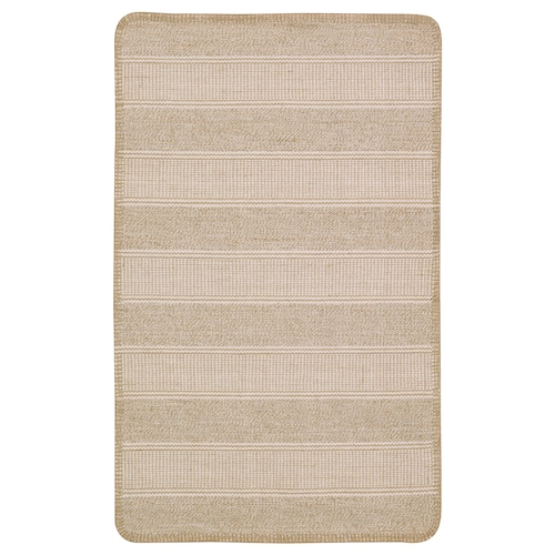 KLEJS rug, flatwoven beige/white 80 cm 50 cm 3 mm 0.40 m² 756 g/m²