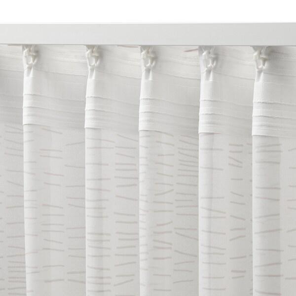 KLÖVERALM Curtains, 1 pair, white/beige, 145x300 cm