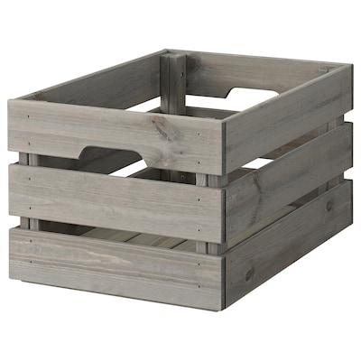 KNAGGLIG Box, grey stained, 46x31x25 cm