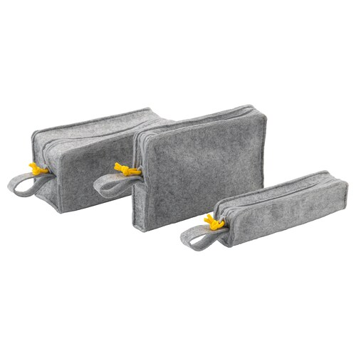 KNALLBÅGE accessory bag, set of 3 felt