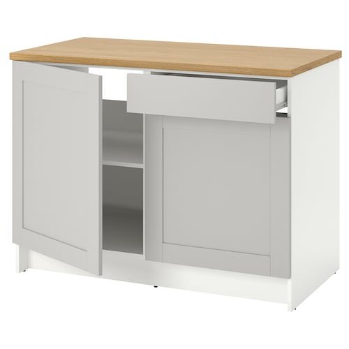 KNOXHULT base cabinet with doors and drawer grey 122.0 cm 120 cm 61.0 cm 91.0 cm