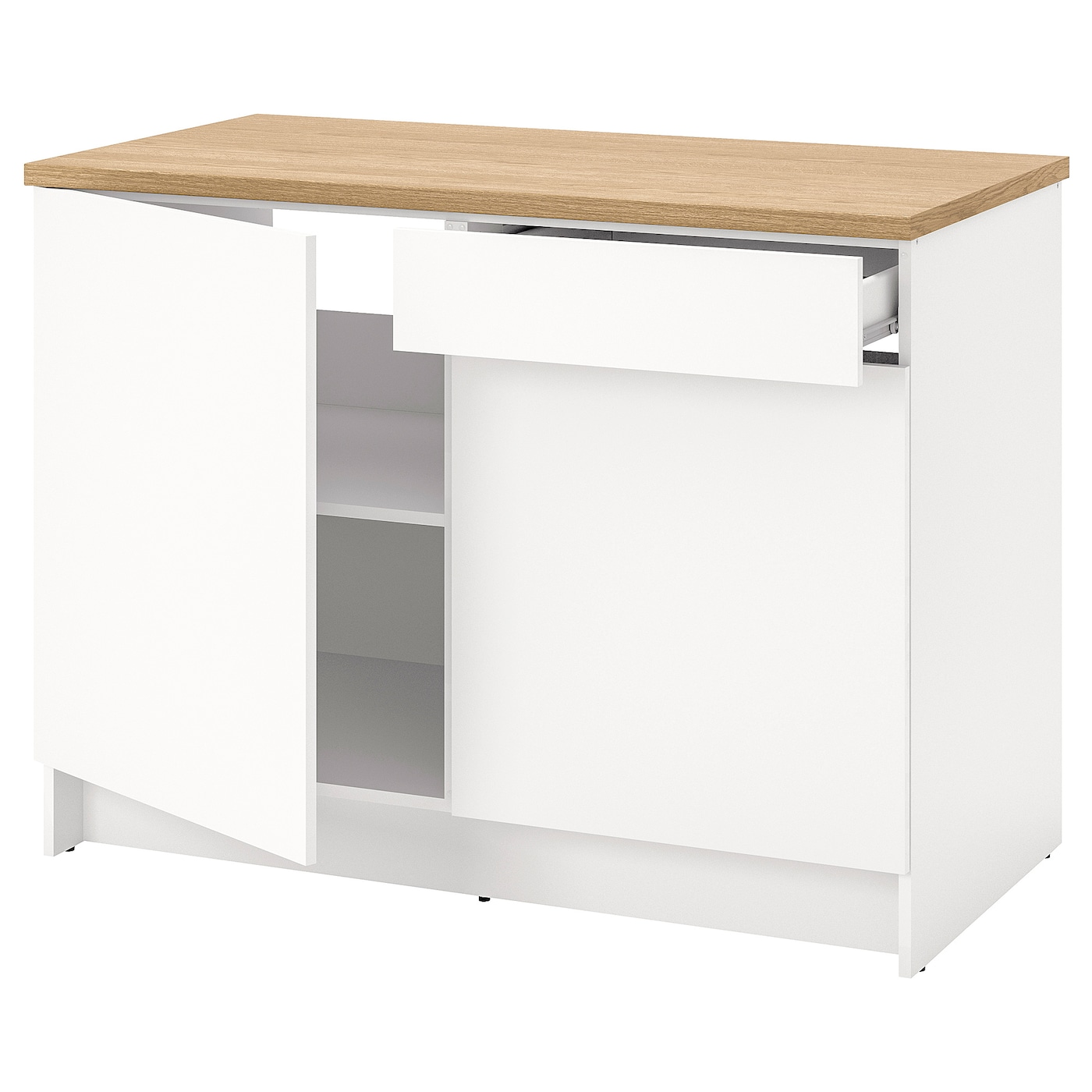 KNOXHULT Base cabinet with doors and drawer - white 12 cm