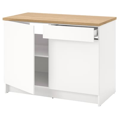 KNOXHULT Base cabinet with doors and drawer, white, 120 cm