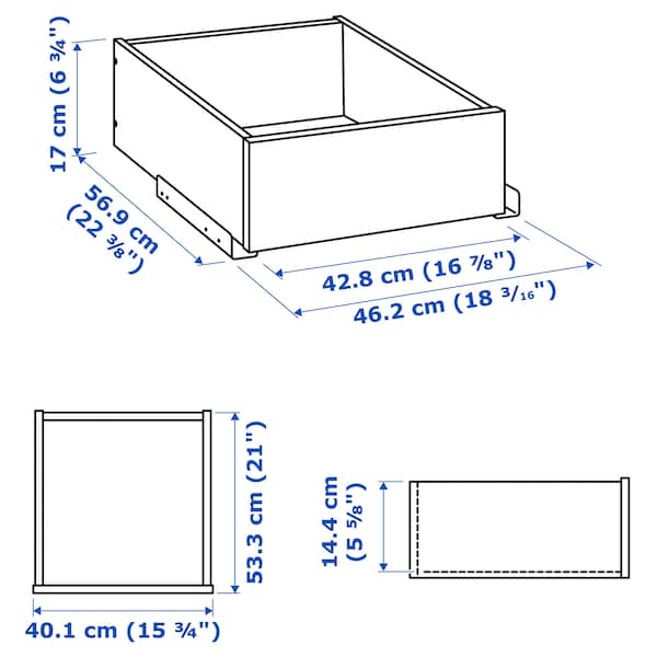 KOMPLEMENT drawer with glass front white stained oak effect 50 cm 58 cm 42.8 cm 56.9 cm 16.0 cm 40.1 cm 53.3 cm