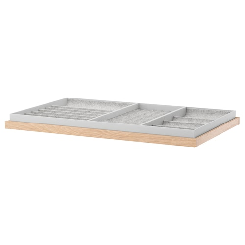 KOMPLEMENT pull-out tray with insert white stained oak effect 96.5 cm 100 cm 56.3 cm 6.7 cm 58 cm 10 kg