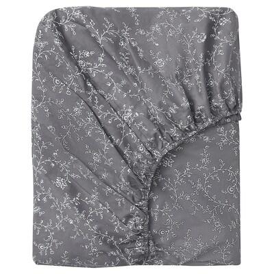 KOPPARRANKA Fitted sheet, floral patterned, 140x200 cm
