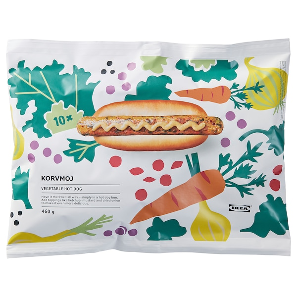 KORVMOJ vegetable hot dog frozen 100% vegetables 460 g