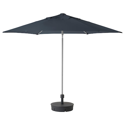 KUGGÖ / LINDÖJA parasol with base blue/Grytö dark grey 180 g/m² 246 cm 300 cm