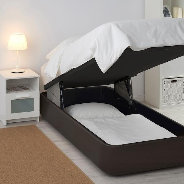 Kvitsöy Upholstered Ottoman Bed Bomstad Dark Brown 90x190 Cm Ikea